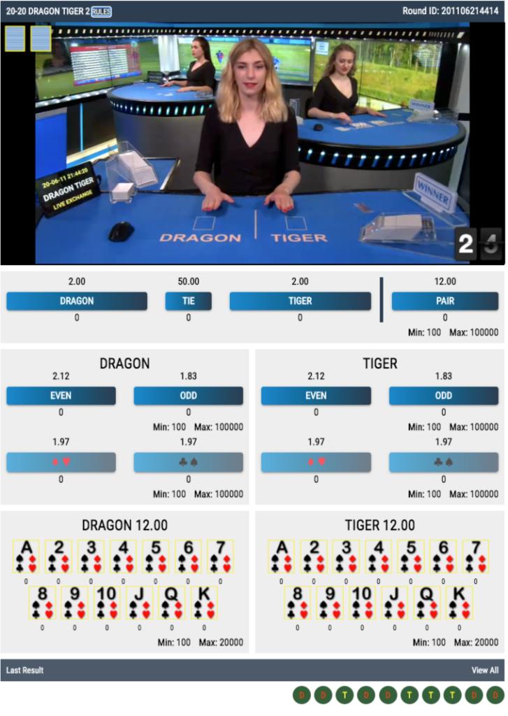 20-20 Dragon Tiger 2 live betting