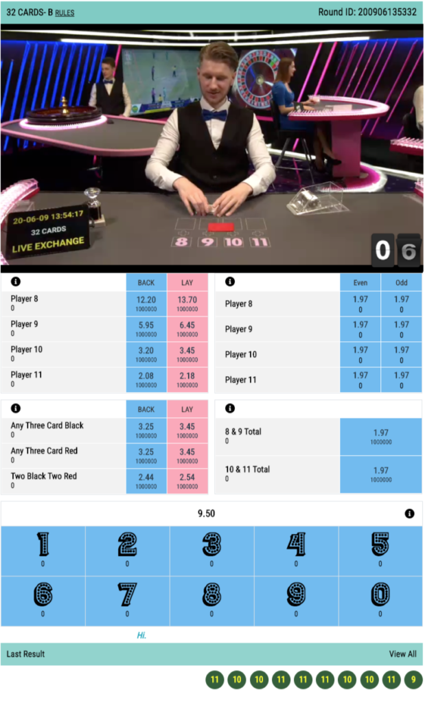 32 cards casino live betting