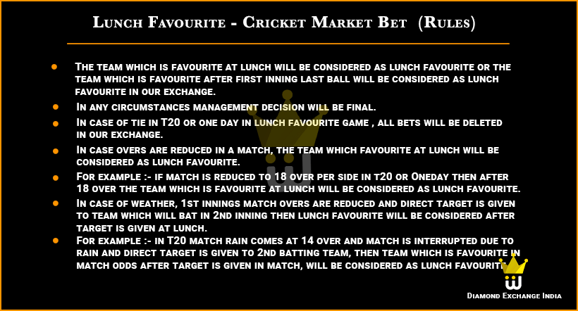 Cricket Lunch Favourite Fancy Market Game Rules And Betting account id